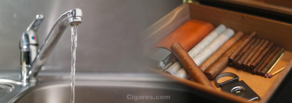 eau robinet cave à cigares